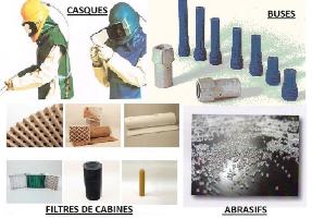 Abrasifs GARNET et BICARBONATE, casques de sablage, buses carbure de bore ou tungstène, filtres carton plissé, média synthétique, cassettes.